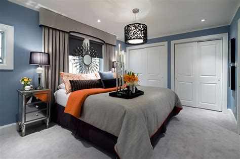blue and grey bedroom design jane lockhart blue gray orange bedroom contemporary