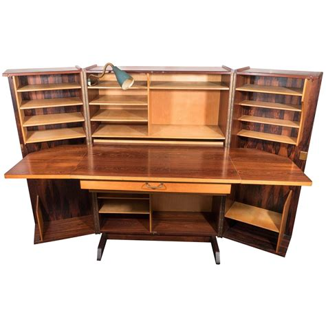 midcentury hideaway desk in rosewood with