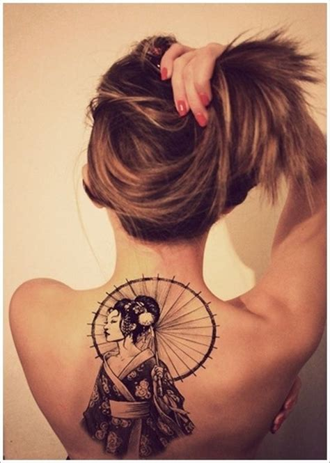 geisha girl tattoo with umbrella 100 tastefully provocative back tattoos for women