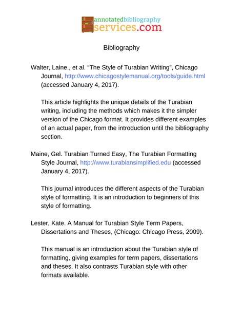 Bibliography Format For Dissertations by Turabian Writing Can Be Complicated But This Annotated