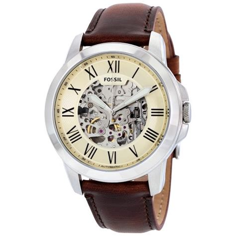 Fossil Grant Automatic Brown Me3099 fossil grant automatic beige skeleton brown leather