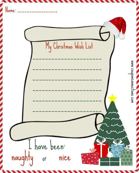 printable christmas wishlist 2014 free printable christmas wish list coupon connections