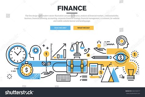 design concept explained flat line design concept finance market stock vector
