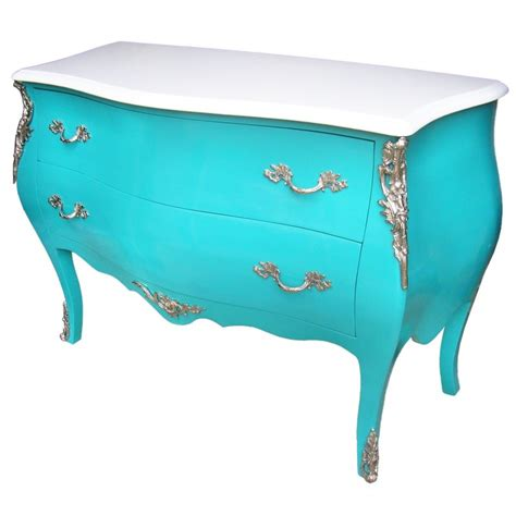 commode turquoise commode baroque de style louis xv turquoise et plateau