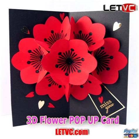 flower bouquet pop up card template letvc 3d flower pop up card pop up cards