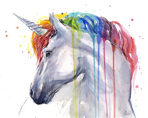 unicorn rainbow watercolor painting by olga shvartsur