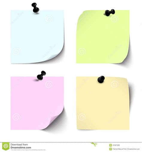 Collection Of Blank Colored Sticky Notes Stock Vector Colored Art Paper L