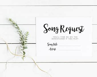 Wedding Card On Song by Song Request Cards Etsy