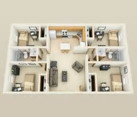 Four Bedroom Apartments by 4 Bedroom Apartment House Plans