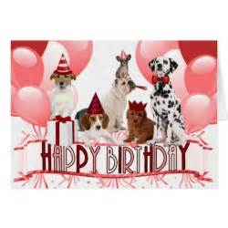 pink happy birthday dogs trendy greeting card zazzle