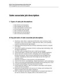 Retail Supervisor Description by Sales Associate Description Hashdoc