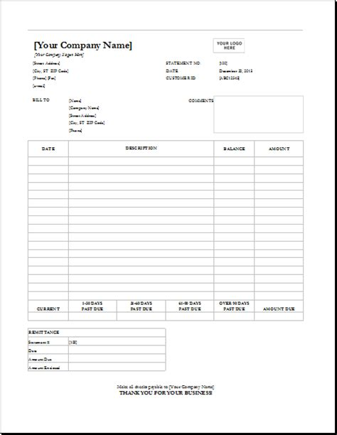 invoice statement template 4 customizable invoice templates for excel word excel