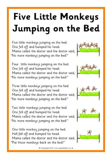 five little monkeys jumping on the bed song sheets