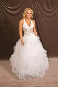 wedding dress with corset top halter low cut see thru corset wedding gown
