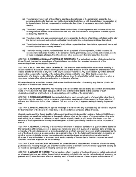 Sle Bylaws Template Free Download C Corp Bylaws Template