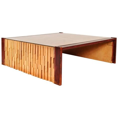 large hardwood coffee table by percival lafer