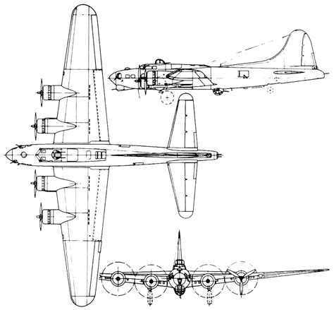 B 17 Sketches by Boeing B 17 Flying Fortress Bomber