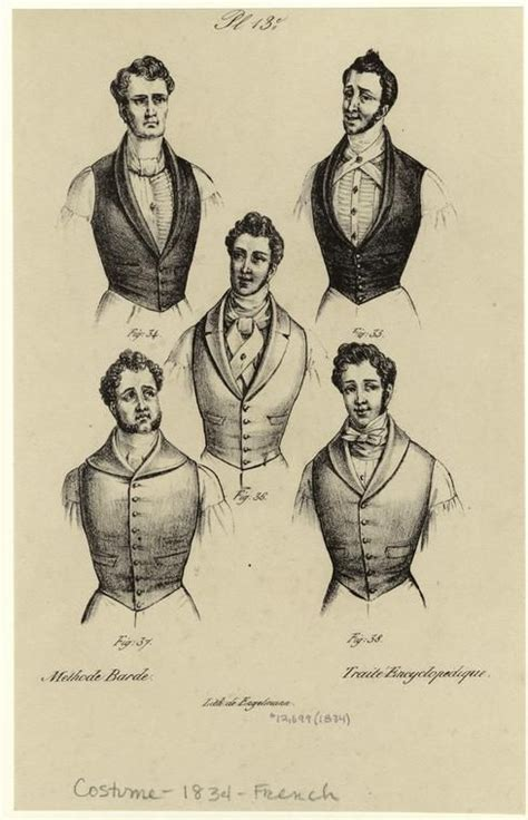 mens hairstyles in 1800 s men wearing vests france 1834 men s fashion 1700s