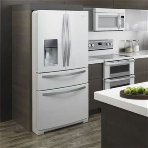 white ice kitchen appliances costco whirlpool 174 28cuft french 4 door white ice refrigerator with external refrigerated
