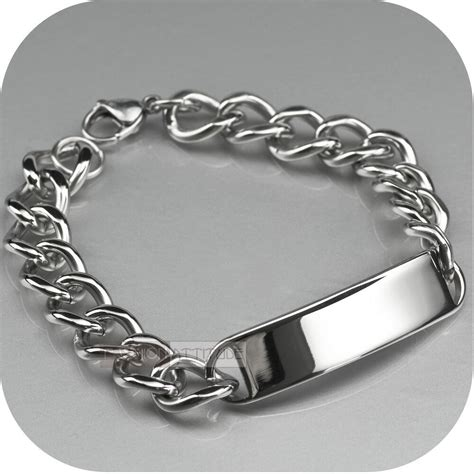 tag bracelet stainless steel curb chain id bracelet name tag engravable