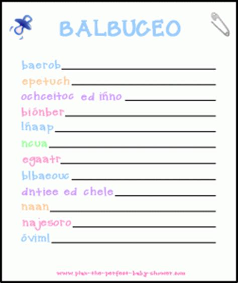 Printable Baby Shower Games In Spanish | juegos para baby shower printable baby shower games in