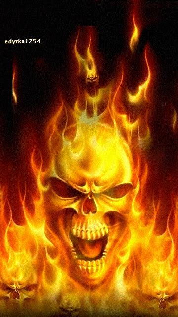 animated flaming skull  fire skull wallpaper