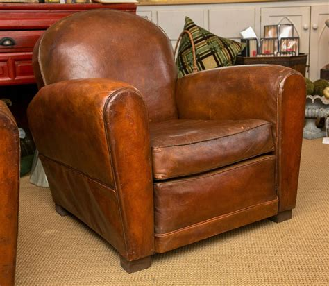 Swivel Armchair For Living Room French Art Deco Period Leather Club Chair At 1stdibs