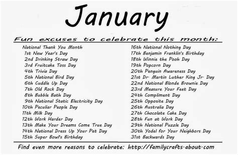 Calendar Of Special Days Kindergarten And Mooneyisms Special Days January
