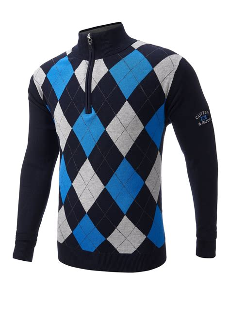 golf jumper pattern name cutter buck wind barrier lined golf sweater navy small