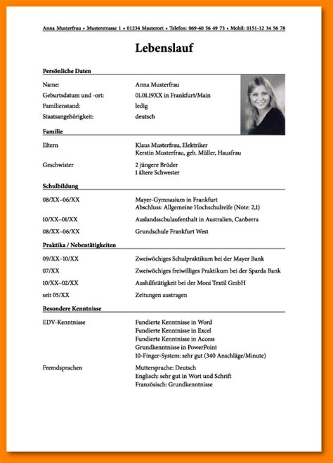 Handgeschriebener Lebenslauf Ausbildung Muster 8 Tabellarischer Lebenslauf Sch 252 Ler Reimbursement Format