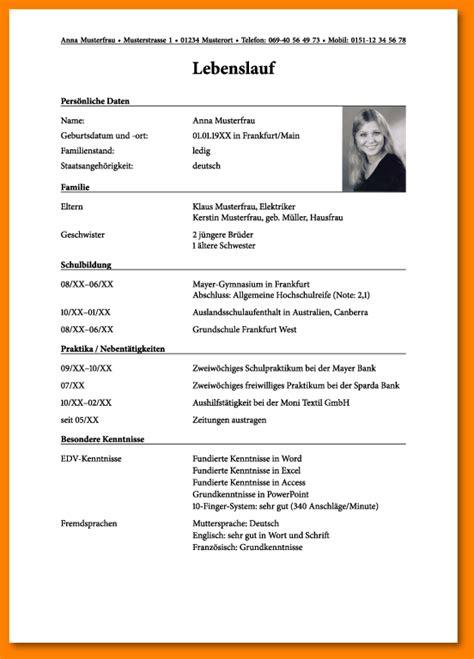 Bewerbung Praktikum Muster Schuler Lebenslauf 8 Tabellarischer Lebenslauf Sch 252 Ler Reimbursement Format
