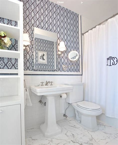 white bathroom wallpaper monogrammed shower curtain
