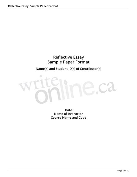 essay reflection paper examples sample essay paper write sample
