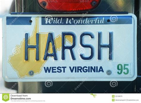 Wv Vanity Plates by License Plate In West Virginia Editorial Stock Image