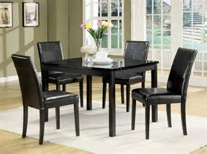 Dining Table Black Chairs Portland Black Marble Top Dining Table Set Black Chairs 5pc