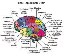 Brain diagram of the tea party republican in the obama era for brain