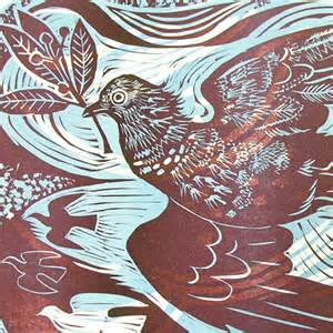 Upholstery Ticking Pidgeon By Mark Hearld