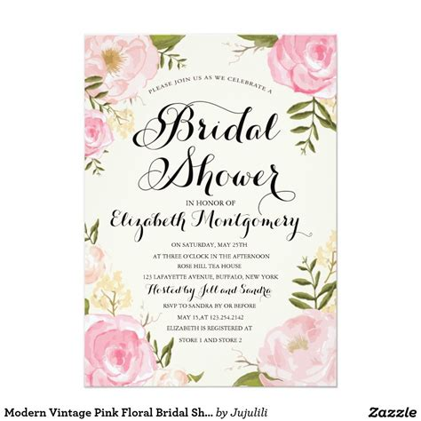 free sles of bridal shower invitations modern vintage pink floral bridal shower wedding bridal