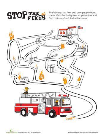 printable fire truck maze fire maze maze preschool worksheets and preschool