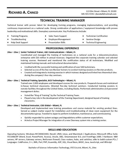 Resume Exles For Technical 12 Sle Corporate Trainer Resume Recentresumes