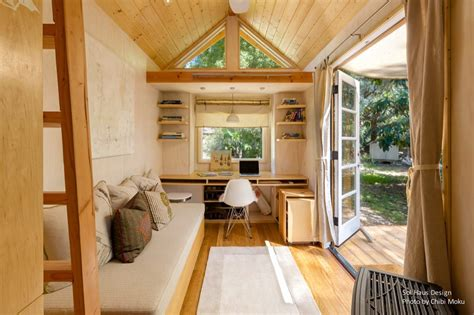 tiny house living woman living simply in off grid tiny home on wheels