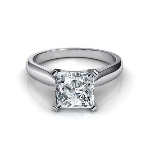 tapered cathedral princess cut engagement ring