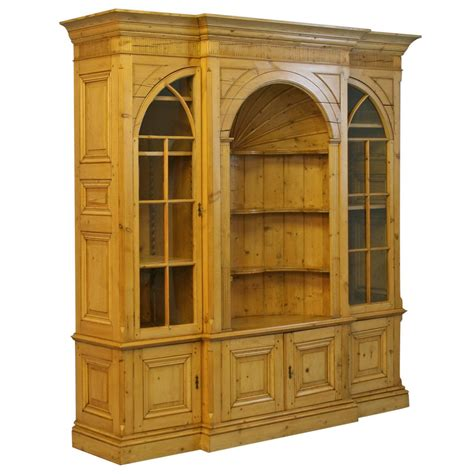 large pine bookcase display cabinet for sale at