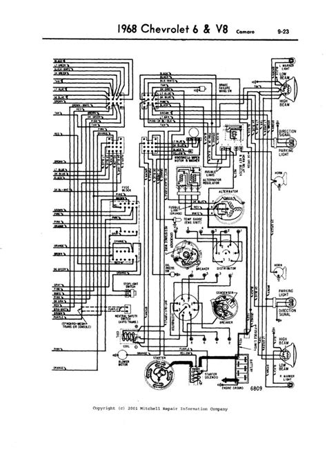 1968 camaro a complete front headlights wiring diagram