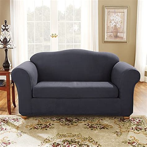 sure blue bench buy sure fit 174 stretch suede bench seat loveseat slipcover