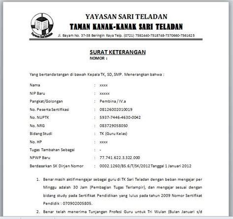 Contoh Surat Izin Sakit Sama Guru by Contoh Surat Pernyataan No Rekening Perusahaan Contoh Wa
