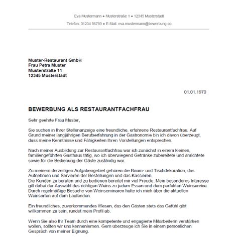 Lebenslauf Muster Restaurantfachfrau Bewerbung Als Restaurantfachmann Restaurantfachfrau Bewerbung Co