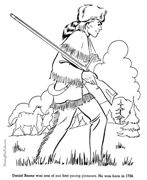 Daniel Boone Coloring Page a color sheet of daniel boone social studies and