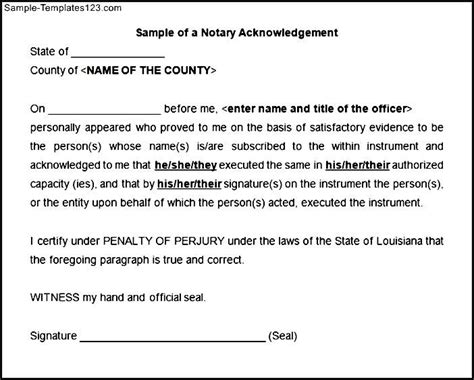 Acknowledgement Letter Notary Sle Of A Notary Acknowledgement Sle Templates