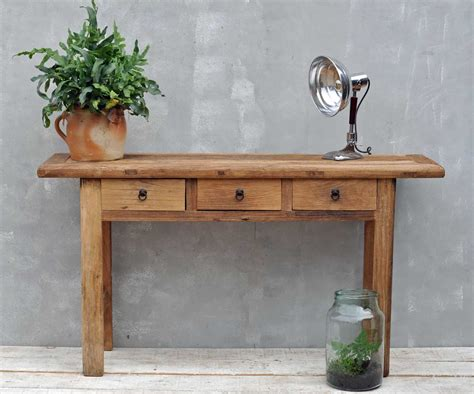 elm console table reclaimed rustic solid elm three drawer console table